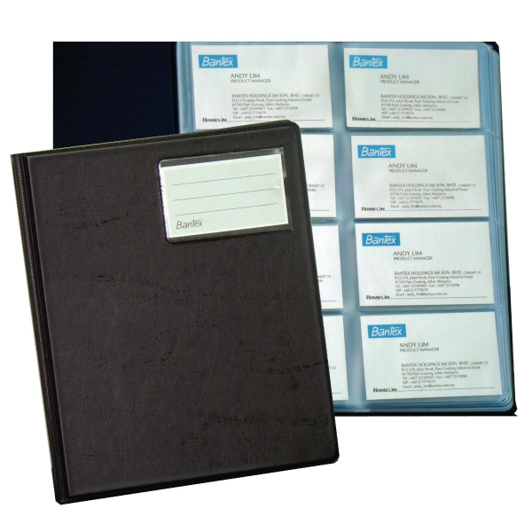 Bantex Pvc Blue Business Card Album 320 Cards Capacity