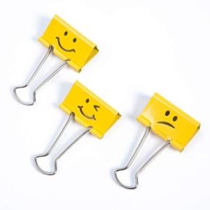 Klipy na papír RAPESCO 1351 Emojis, klipy 19 mm, žluté