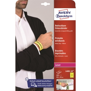 Identifikační potisknutelné náramky Avery Zweckform, žluté