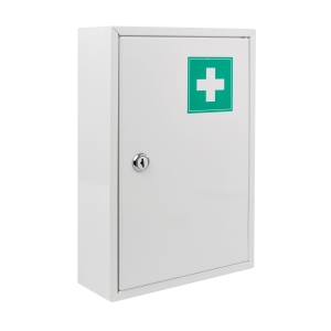 Lékárnička bez obsahu, kovová, velikost M, bílá