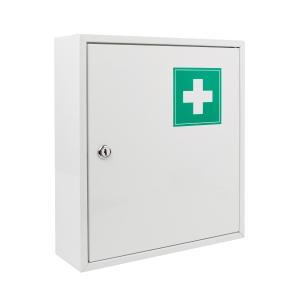 Lékárnička bez obsahu, kovová, velikost L, bílá