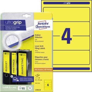 Etikety na pořadače Avery Zweckform, rozměr 192 x 61, barva žlutá, 80 ks