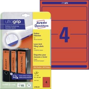 Etikety na pořadač Avery Zweckform, červená, rozměr 192 x 61 model L4766-20