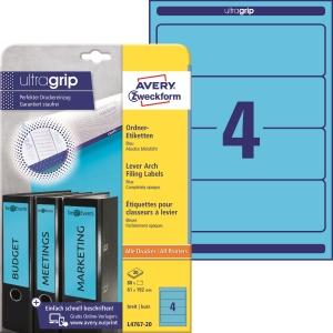 Etikety na pořadač Avery Zweckform, barva modrá, rozměr 192 x 61, model L4767-20