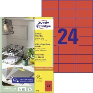 Avery 3448 univerzální etikety 70 x 37 mm,červené