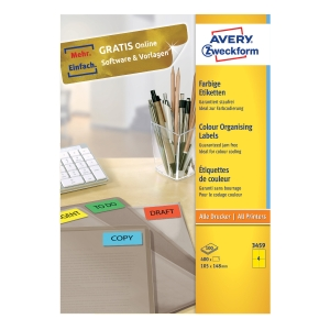 Barevné etikety Avery Zweckform, 105 x 148 mm, žluté, 400 kusů