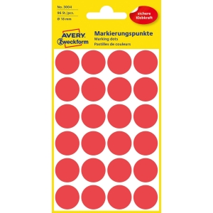 Avery 3004 okrouhlé etikety 18 mm, červené