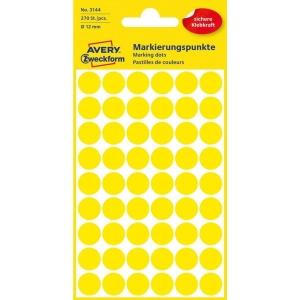 Značkovací kulaté etikety AVERY Zweckform 3144, Ø12mm žluté