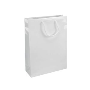 Dárková papírová taška IVONE, 24 x 9 x 35 cm, bílá