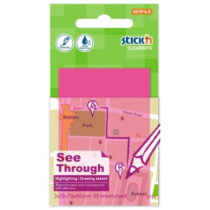 Samolepicí průhledný bloček Clearnote STICK N, 76 x 51 mm, růžový