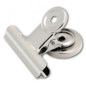 Sakota BULL DOG klipy na papír s magnetem, 31 mm, stříbrné