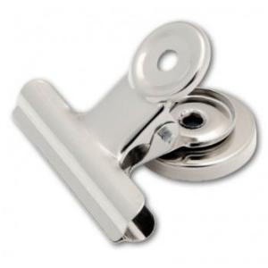 Sakota BULL DOG klipy na papír s magnetem, 38 mm, stříbrné
