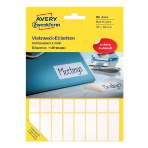 Univerzální etikety na ruční popisování Avery, 38 x 14 mm, bílé, 928 ks