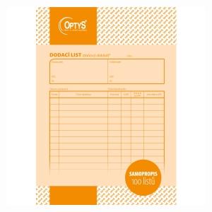 Dodací list NCR Optys A5, blok 100 listů