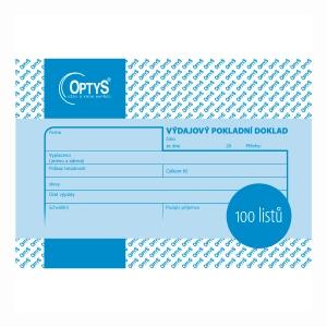 Výdajový pokladní doklad Optys A6, blok 100 listů