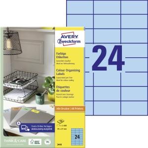 Avery 3449 univerzální etikety 70 x 37 mm,modré