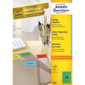 Avery 3450 univerzální etikety 70 x 37 mm, zelené