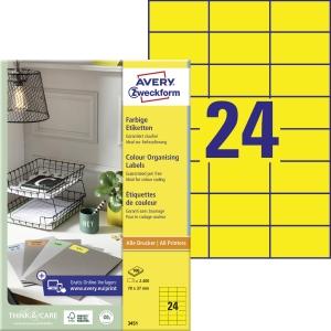 Barevné etikety Avery Zweckform, 70 x 37 mm, žluté, 2400 kusů