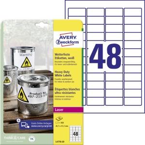 Odolné polyesterové etikety Avery Zweckform, rozměr 45,7 x 21,2, model  L4778-20
