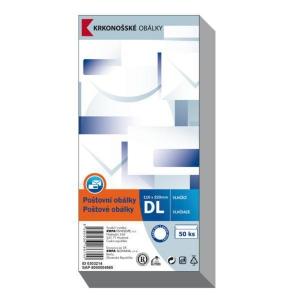 Obálky jednoduché bílé DL (110 x 220 mm), 50 kusů/balení