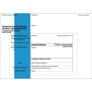 Obálka s doručenkou B6 (125 x 176 mm) s modrým pruhem, balení 50 Ks