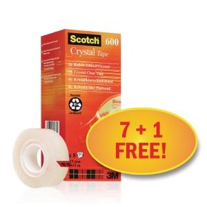 Lepicí pásky Scotch Crystal - zvýhodněné balení 8 kusů (7 + 1 zdarma)