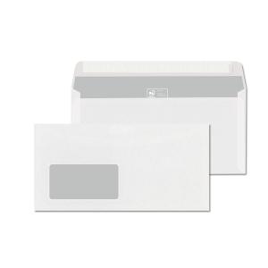 Obálky bílé s krycí páskou DL (110 x 220 mm), okno vlevo, 1000 ks/balení