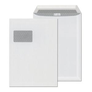 Samolepicí bílá taška s krycí páskou C4 (229 x 324 mm), okno vlevo, 250 ks/bal.