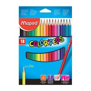 Tužky barevné Maped, ergonomické trojhranné tělo, balení 18 barev