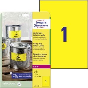 Vysoce odolné plyesterové žluté etikety Avery, L6111-20, 210x297 mm, 1 etik/list