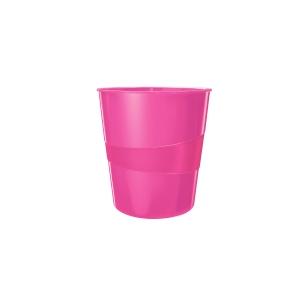 Odpadkový koš Leitz WOW 15 l, metalicky růžový