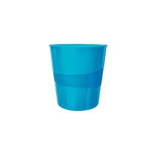 Odpadkový koš Leitz WOW 15 l, metalicky modrý
