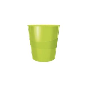 Odpadkový koš Leitz WOW 15 l, metalicky zelený