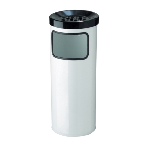 Odpadkový koš s popelníkem MEVA, 30 l, bílý