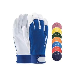 Kožené rukavice na všeobecnou manipulaci se zapínáním, šedá/oranžová, velikost 9