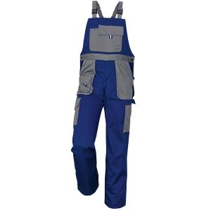 Montérkové kalhoty s náprsenkou, velikost 48, barva modrá/ šedá