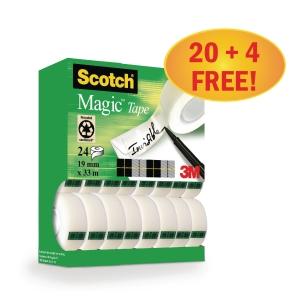 Scotch MagicTM Klebefilm, Vorteilspackung mit 24 Stück, 19 mm x 33 m