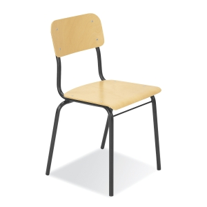 Nowy Styl Irys Besucherstuhl mit Holz-Sitzfläche und -Rückenlehne, schwarz