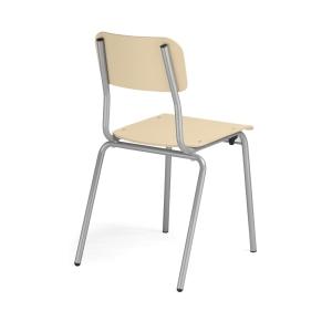 Nowy Styl Irys Besucherstuhl mit Holz-Sitzfläche und -Rückenlehne, grau