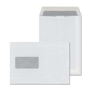 Weiße selbstklebende Briefumschläge C5(162 x 229 mm), Fenster links, 500 Stück