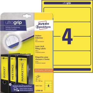 Avery Zweckform L4769-20 Ordner-Etiketten, 192 x 61 mm, gelb, 80 Stück