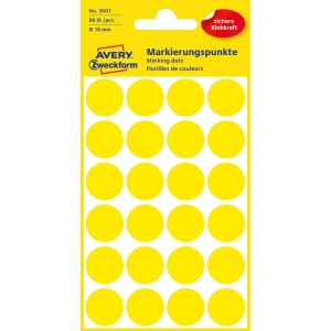 Avery 3007 Runde Etiketten 18 mm gelb