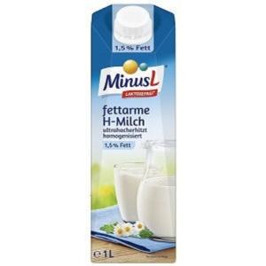 Minus L UHT Milch, 1,5 % Fettanteil, laktosefrei, 1 l