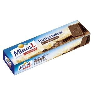 Minus L Butterkekse mit Schokolade, laktosefrei, 125 g