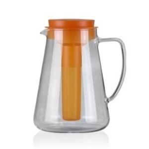 Tescoma Teo Krug mit Sieb und Kühleinsatz, Glas, 2.5 l, orange