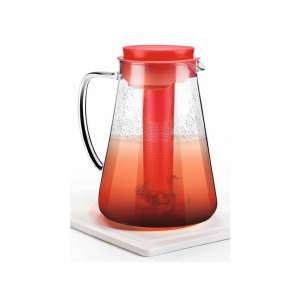 Tescoma Teo Krug mit Sieb und Kühleinsatz, Glas, 2.5 l, rot