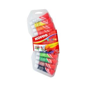 Temperfarben Kores, 12 Farben, Tube 12 ml