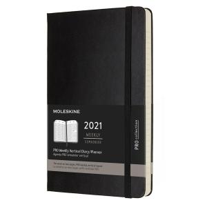 Wochenkalender L Moleskine Pro mit hartem Umschlag - schwarz, 13 x 21 cm