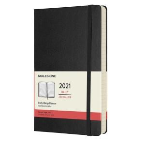 Tageskalender L Moleskine mit hartem Umschlag - schwarz, 13 x 21 cm