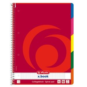 Herlitz Spiralblock mit weichem Umschlag und Register A4 kariert, 80 Blatt